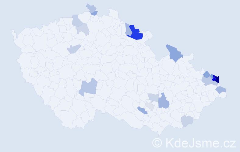 Příjmení: 'Dadoková', počet výskytů 67 v celé ČR