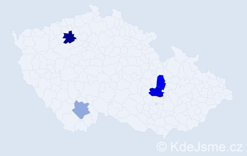 Příjmení: 'Dandaš', počet výskytů 6 v celé ČR