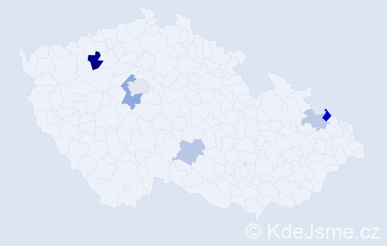Příjmení: 'Häckelová', počet výskytů 11 v celé ČR
