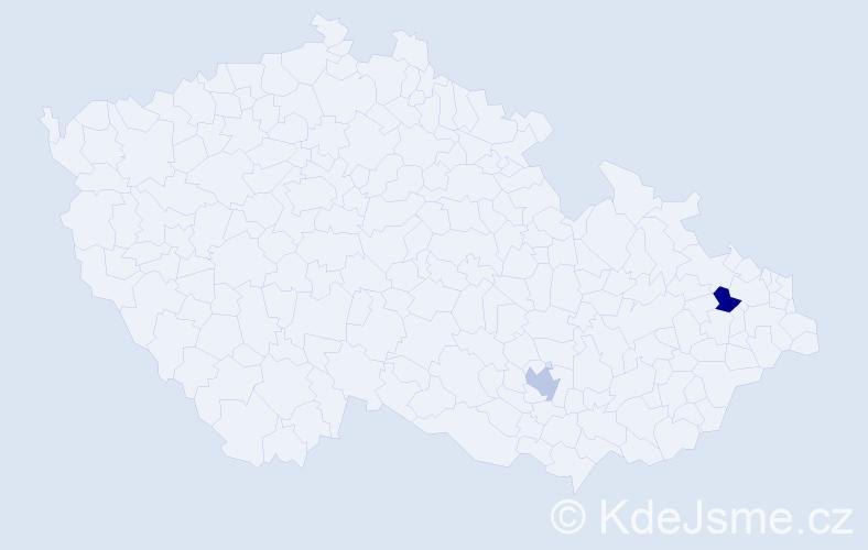 Příjmení: 'Coatesová', počet výskytů 2 v celé ČR