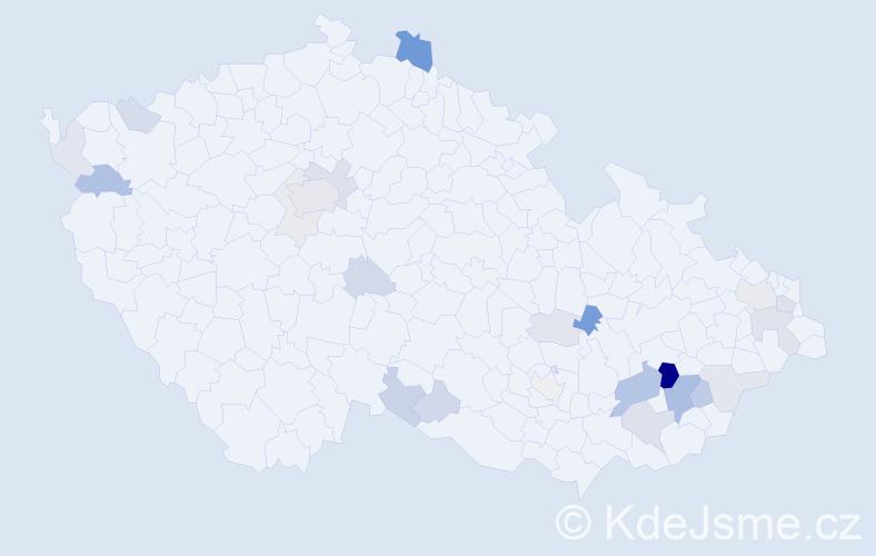 Příjmení: 'Lajda', počet výskytů 62 v celé ČR