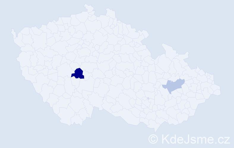 Příjmení: 'Čepp', počet výskytů 8 v celé ČR