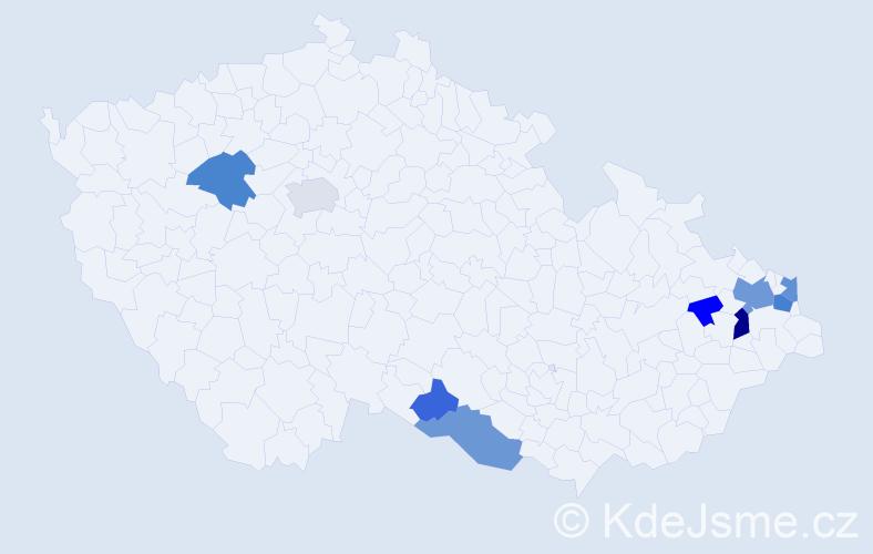 Příjmení: 'Gašper', počet výskytů 21 v celé ČR