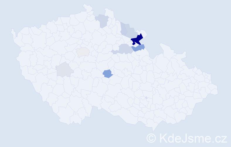 Příjmení: 'Čejp', počet výskytů 42 v celé ČR