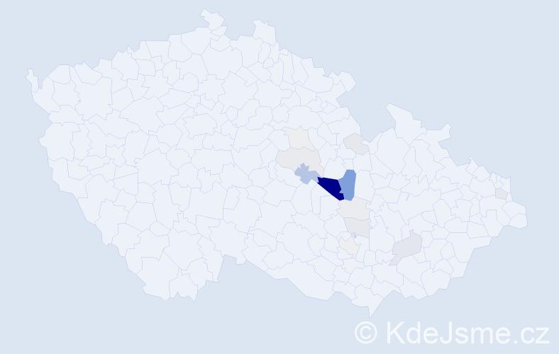 Příjmení: 'Hlouš', počet výskytů 62 v celé ČR