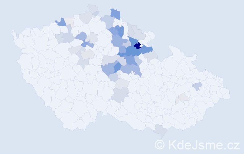 Příjmení: 'Flégrová', počet výskytů 167 v celé ČR