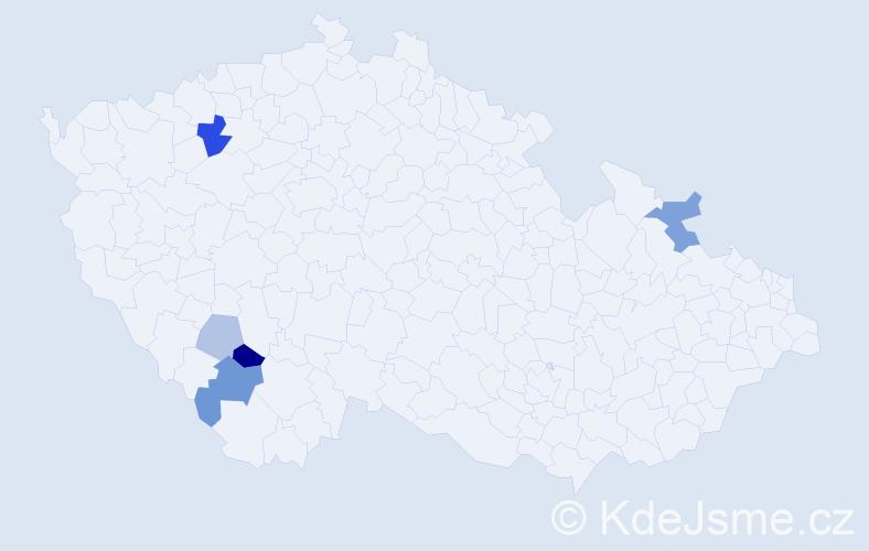 Příjmení: 'Hamlík', počet výskytů 10 v celé ČR