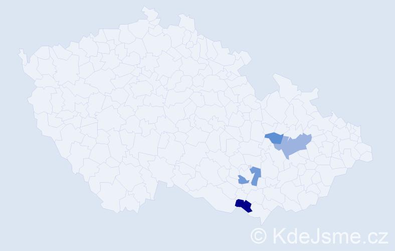 Příjmení: 'Frýb', počet výskytů 7 v celé ČR