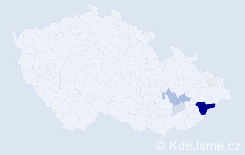 Příjmení: 'Lalošák', počet výskytů 26 v celé ČR