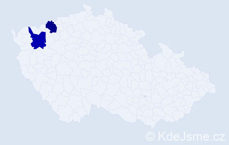 Příjmení: 'Lefíková', počet výskytů 4 v celé ČR