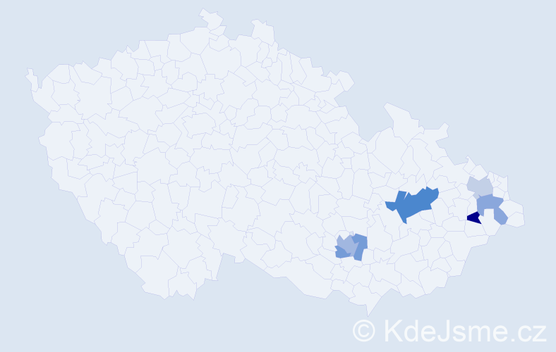 Příjmení: 'Aberl', počet výskytů 9 v celé ČR