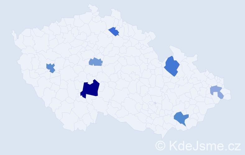 Příjmení: 'Erman', počet výskytů 14 v celé ČR