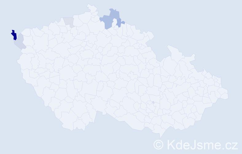 Příjmení: 'Hauptig', počet výskytů 13 v celé ČR