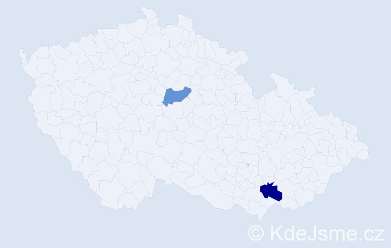 Příjmení: 'Čiráková', počet výskytů 3 v celé ČR