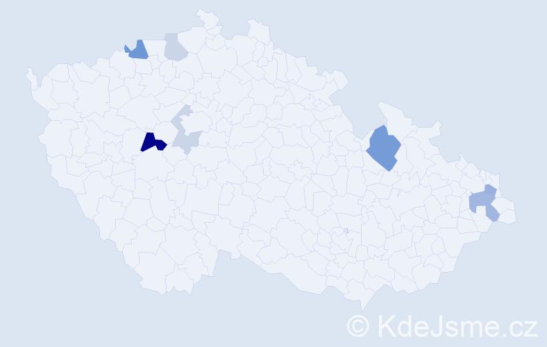 Příjmení: 'Hrachovická', počet výskytů 15 v celé ČR