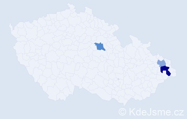 Příjmení: 'Cseszárová', počet výskytů 4 v celé ČR