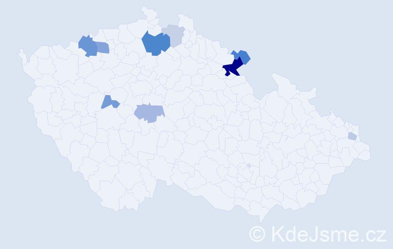 Příjmení: 'Lajerová', počet výskytů 21 v celé ČR