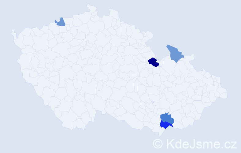 Příjmení: 'Jaštík', počet výskytů 9 v celé ČR