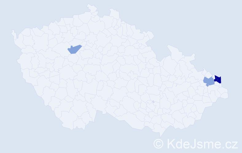Příjmení: 'Kačinský', počet výskytů 8 v celé ČR