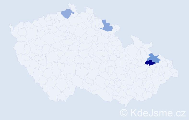Příjmení: 'Kroman', počet výskytů 5 v celé ČR