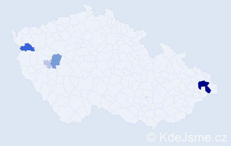 Příjmení: 'Karolyová', počet výskytů 9 v celé ČR
