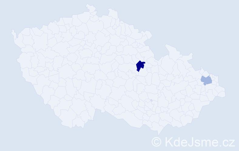 Příjmení: 'Exenberger', počet výskytů 2 v celé ČR