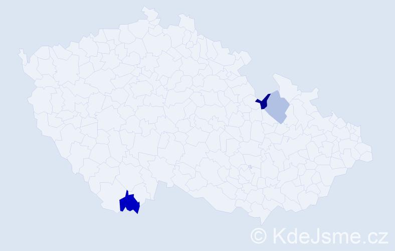 Příjmení: 'Čázarová', počet výskytů 4 v celé ČR