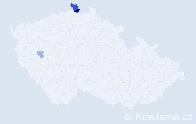 Příjmení: 'Lígr', počet výskytů 3 v celé ČR