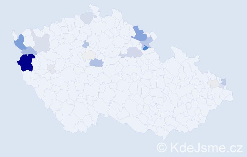 Příjmení: 'Gangur', počet výskytů 36 v celé ČR
