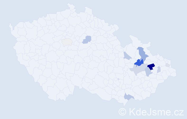 Příjmení: 'Kočtářová', počet výskytů 21 v celé ČR