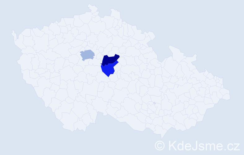 Příjmení: 'Lajková', počet výskytů 6 v celé ČR