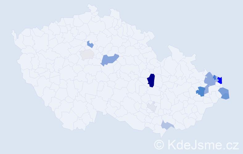 Příjmení: 'Kaizarová', počet výskytů 34 v celé ČR