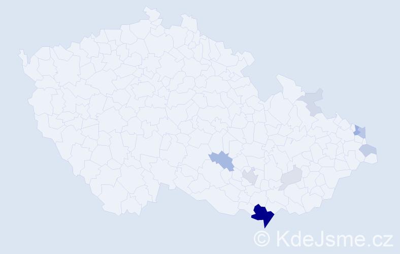 Příjmení: 'Grandič', počet výskytů 38 v celé ČR