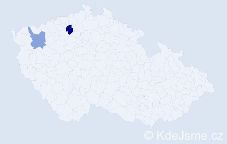 Příjmení: 'Günl', počet výskytů 5 v celé ČR