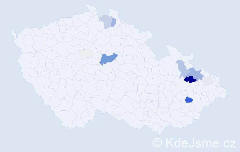Příjmení: 'Csémiová', počet výskytů 20 v celé ČR