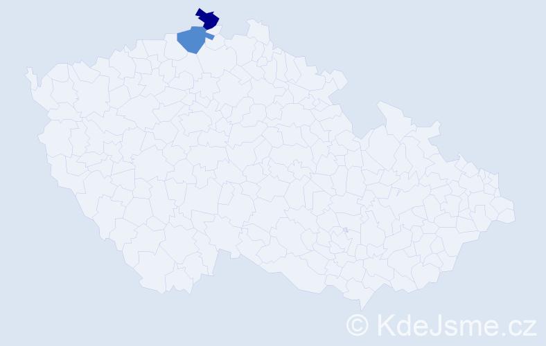 Příjmení: 'Dušiková', počet výskytů 2 v celé ČR