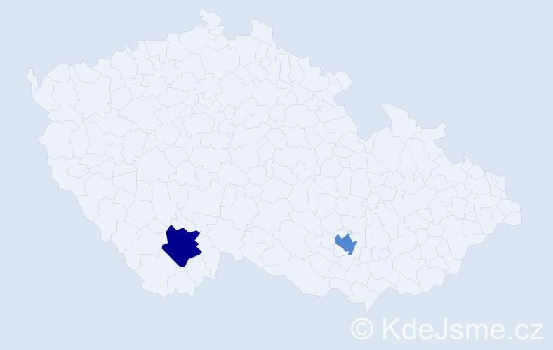 Příjmení: 'Füzéková', počet výskytů 2 v celé ČR