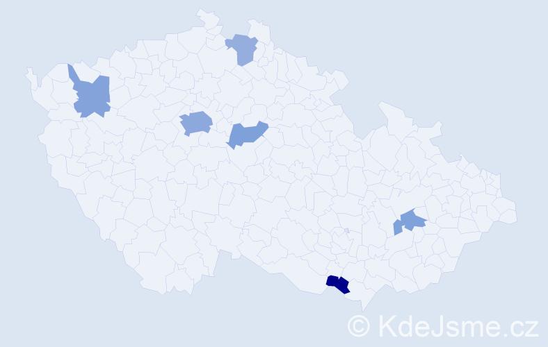 Příjmení: 'Kulfánková', počet výskytů 12 v celé ČR
