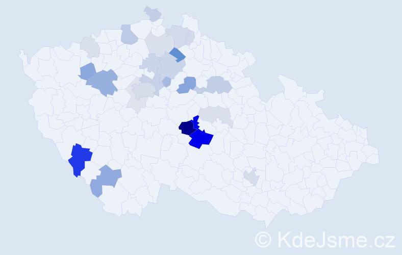 Příjmení: 'Habásková', počet výskytů 70 v celé ČR