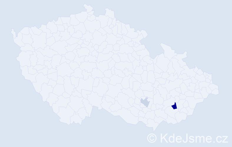 Příjmení: 'Kužmiková', počet výskytů 3 v celé ČR