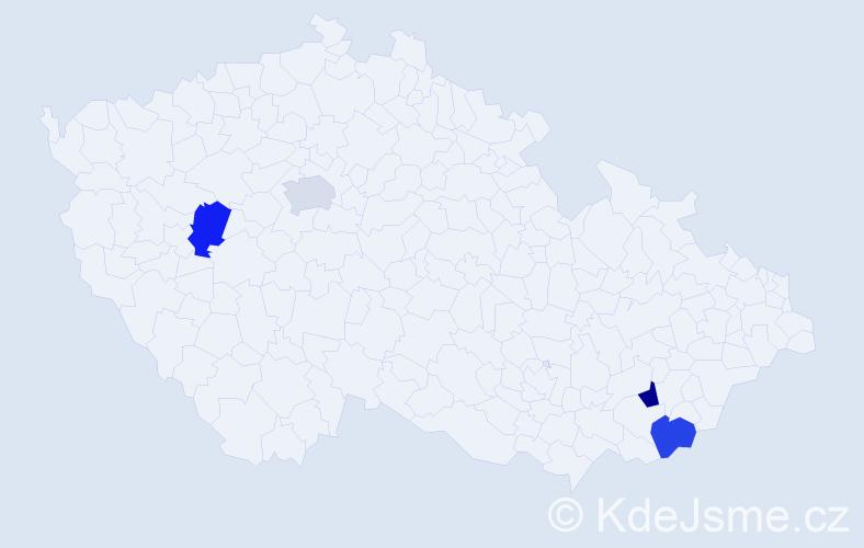 Příjmení: 'Čameková', počet výskytů 4 v celé ČR