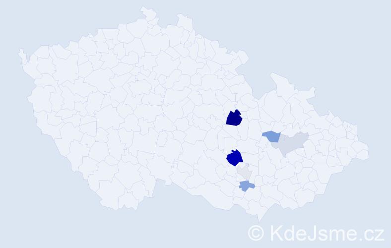Příjmení: 'Hajslerová', počet výskytů 12 v celé ČR