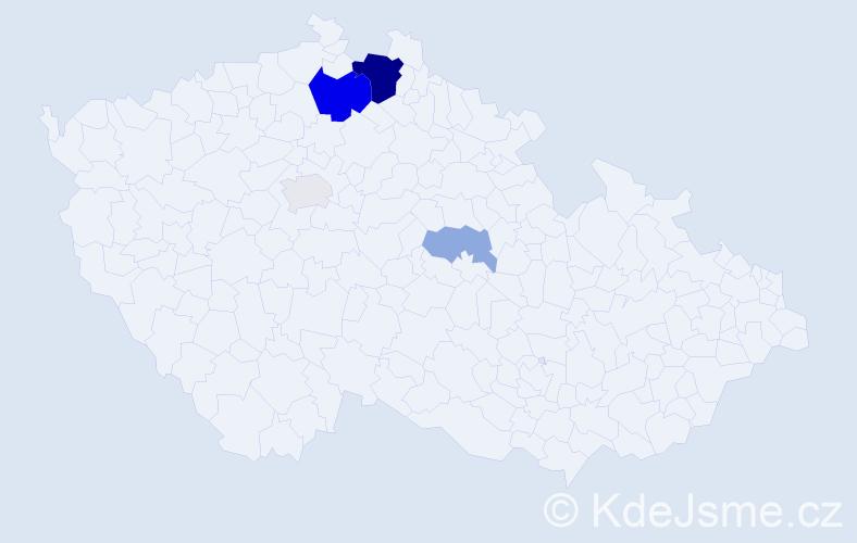 Příjmení: 'Bobvoš', počet výskytů 13 v celé ČR