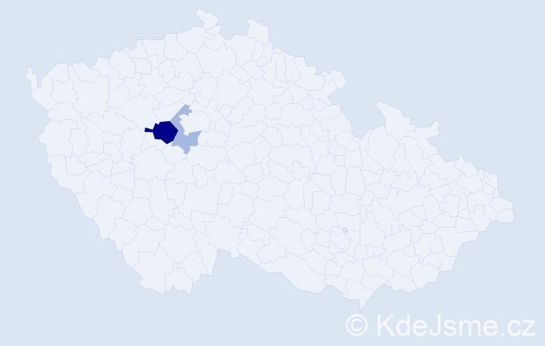 Příjmení: 'Čávošová', počet výskytů 5 v celé ČR