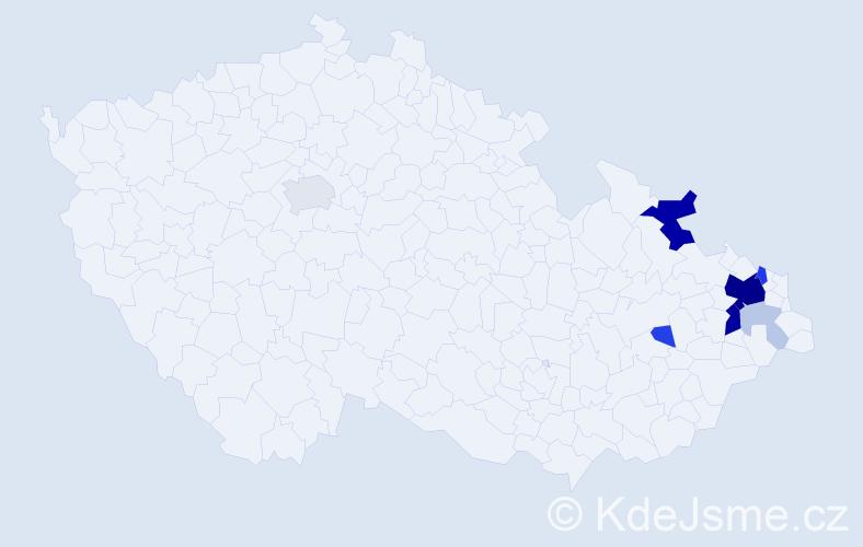 Příjmení: 'Grobař', počet výskytů 34 v celé ČR