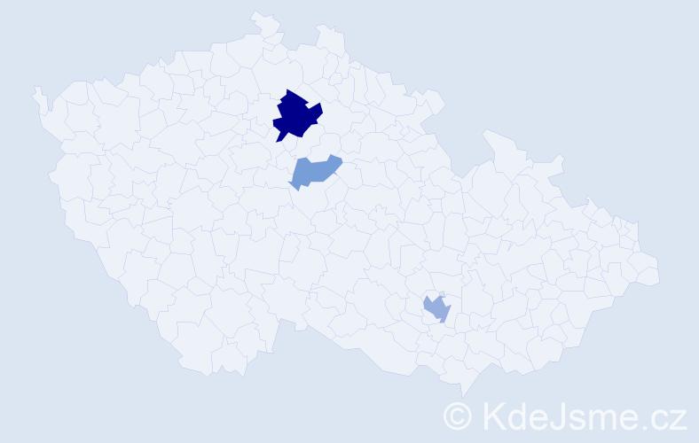 Příjmení: 'Bečvárovská', počet výskytů 14 v celé ČR