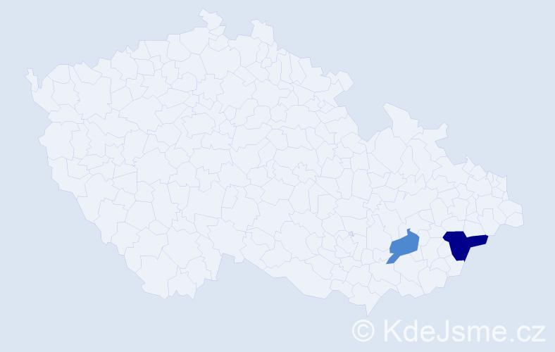 Příjmení: 'Hurínková', počet výskytů 3 v celé ČR