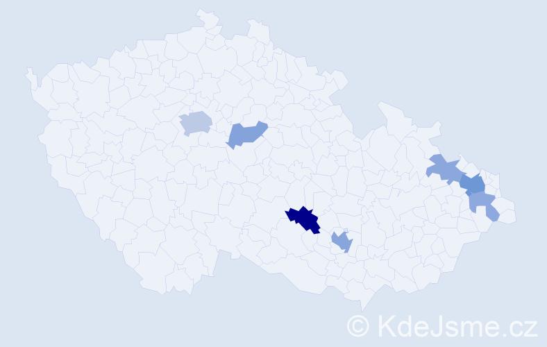 Příjmení: 'Dačev', počet výskytů 16 v celé ČR