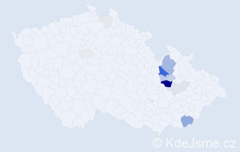 Příjmení: 'Blaháček', počet výskytů 40 v celé ČR