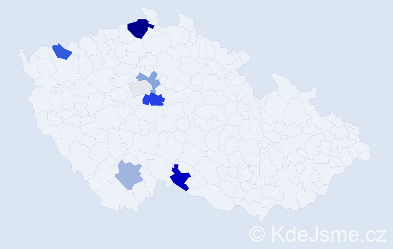 Příjmení: 'Hanzaliusová', počet výskytů 11 v celé ČR